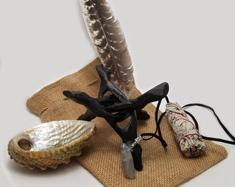 OSTARA: Shaman Ritual Cleanse Kit - Sage Stick, Sea Shell, Feather, Crystal Necklace, Wooden Stand
