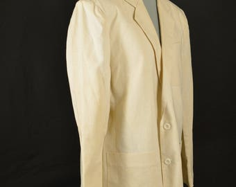 Vintage Cream Colored Progressions Miami Vice Style Mens Jacket, Size 40