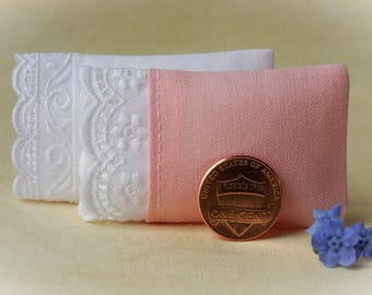 Dollhouse Pillows,  Miniature Pillows Set of 2 Assorted Pillows, 1 White, 1 Pink - 1:12 scale, One Inch Scale
