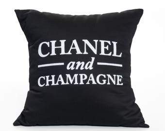 Chanel and Champagne | Black and White | Pillow Cover | Fashion | Haute Couture | Labels | Fashion Designer | Accent Pillow | Throw Pillow