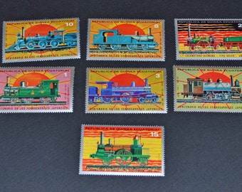 7 Mint  Train stamps from Guinea