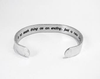 "Encouragement Gift ~ There is no such thing as an ending, just a new beginning. ~ Sobriety Gift / Recovery Gift  ~ 3/8"" message cuff"