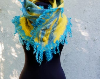 """SALE! """"Turquoise crow"""", wet felted shabby curly scarf in mustard, teal and turquois colors, one-of-a-kind unique hand felted woolen garment"""