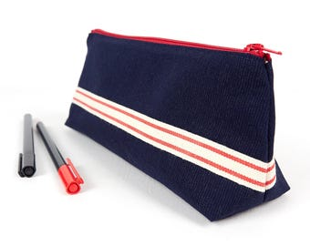 Red and Blue Stand Up Pencil Case for Adults Large Fabric Men's Pencil Holder Zipper Pouch