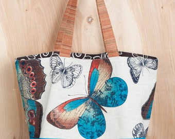 Botanical Blue Butterfly Tote Bag- Brown scroll lining- Linen and Cotton Tote- by beckyzimmdesign