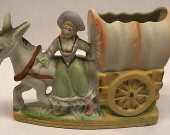 Ceramic Covered Wagon Girl Donkey Figurine Planter Vase Fern Importation Hand Painted Japan