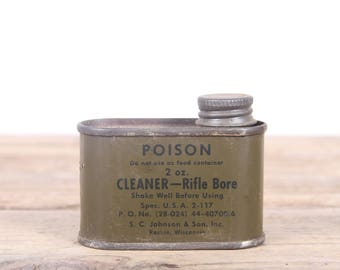 Vintage Rifle Bore Cleaner from S.C. Johnson / US Military 2 oz Green Metal Can / Hunting Room Decor / Camping Decorations / Outdoor Decor