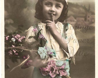 Shhhh Cute Child in Blue Antique French Tinted Photo Postcard Post Card from Vintage Paper Attic