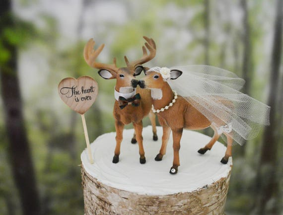 deer hunter wedding cake topper buck and doe wedding cake topper and groom 13442