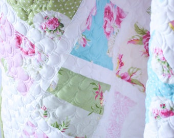 Shabby Chic baby girl quilt, Modern baby quilt, Baby Quilt, Baby Blanket, Girl Quilt, Crib Quilt, Nursery Decor, Baby Gift, Infant quilt