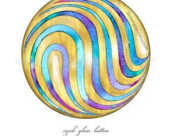 Hand Painted Buttons | Czech Glass Button | Sewing Button Wall Art | Watercolor Buttons | Antique Buttons | Vintage Buttons | Glass Button
