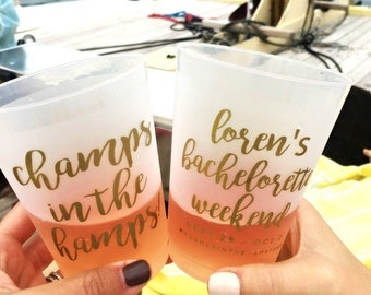 Bachelorette Cups, Party Cups, Bachelorette Party Cup, Bridal Shower, Champs in the Hamps, Bachelorette Gift, Frosted Cup, Wedding Cup, 1726