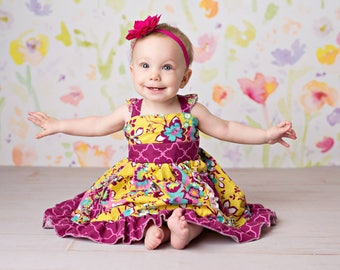 Baby Dahlia's Double Flutter Pocket Top, Dress, and Maxi PDF Pattern Size Newborn to 18/24m