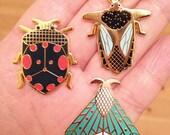 Enamel pin set of 3 // insect enamel pin // butterfly // beetle // Hard Enamel // Badge // Brooch