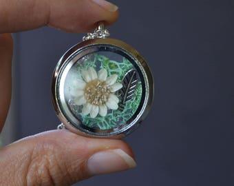 Glass Shadow Box Necklace, Glass Locket with Flowers, Moss Necklace, Terrarium Jewelry, Terrarium Necklace, Canadian Jewelry, Dried Flowers
