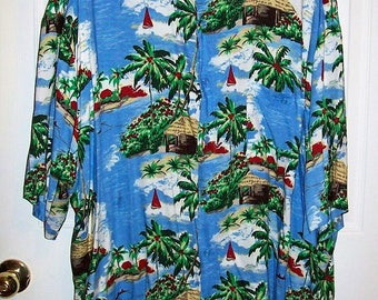 Vintage Men's Blue Tropical Print Hawaiian Shirt by Puritan 2X Only 9 USD
