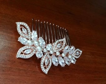 Rose Gold Bridal hair Comb, Rose Gold hair comb, Pearl hair comb, Marquise Cut, Swarovski hair comb,Hair Jewelry, Bridal hair comb, LILLY