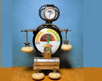 FAIR WEATHER ROBOT Handmade Steampunk  Humidity Monitor, Thermometer, Found Objects, Repurpose,  Human & Plant Buddy,  One of a Kind.  89.90