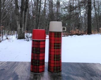 Vintage Plaid Thermos - 2 PC Thermos Set - Aladdin Thermos - Camping - Glamping - Christmas Decor - Cottage - Farmhouse