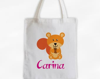 Personalized Squirrel Canvas Tote Bag - Forest Animal Custom Travel Overnight Bag for Boys or Girls - Reusable Tote (3042)