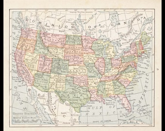 Small USA Map (Wall Art, Early 1900s Antique United States of America Decor) No. 9-3