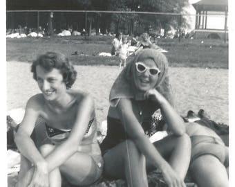 "Vintage Snapshot ""Goofy Gal"" Swimsuit Sunglasses Rear View Beach Towel Found Vernacular Photo Girlfriends Cigarette Smoker"