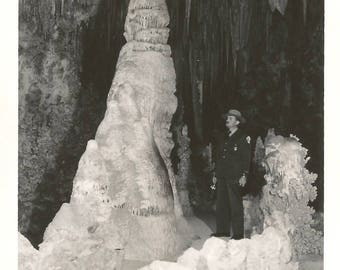 "Vintage Snapshot ""It Wasn't Here Yesterday"" Park Ranger's Stunned Disbelief Stalagmite Cavern Caves Found Vernacular Photo"