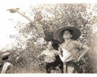 "Vintage Snapshot ""Mother In Tree"" Tomboy Climbs Tree Holds On By One Hand Found Vernacular Photo"