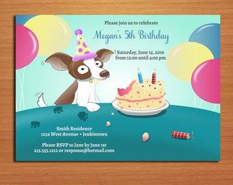 Hungry Dog Beagle Birthday / Customized Printable Birthday Party Invitation Cards DIY