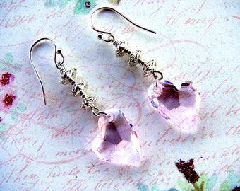 Rose Pink Heart Earrings. Swarovski Earrings, Heart Earrings, Valentine Earrings, Pink Earrings,  Dangle Earrings, Heart Jewelry, Rose Heart