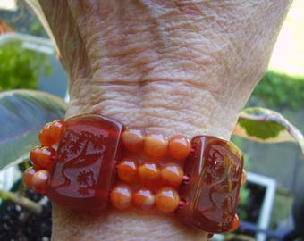 Vintage Etched Squares and round beads Carnelian Bracelet