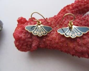 Laurel Burch Black Enamel Cloisonne Butterfly Pierced Dangle Earrings