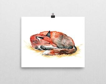 Sleeping Red Fox  Original Watercolor painting 6''x9'' wildlife art nursery wall decor baby shower whimsical winter christmas new year's eve