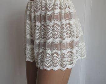 Lace Sleepwear Ivory Lingerie Women's Cream Pajamas Honeymon Pajama Lace Pajama Panties Lingerie Shorts Sheer Panties Knickers Night Shorts