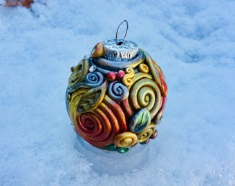 SWIRL DREAMS Polymer Clay Glass Christmas Ornament