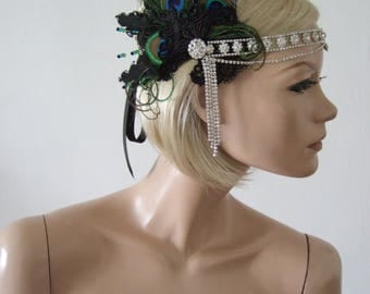 "Lace + Feather Crystal Flapper Headband ""Lou"" Gatsby Party Art Deco Fascinator 1920s Haloween Wedding Headpiece Bridesmaid Black Peacock"