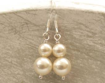 Bliss double pearl drop bridal earrings