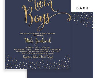 Twin Boys Baby Shower Invitation Navy and Gold Invitation Twins Baby Shower Invites Printable Baby Shower Twin Boys Shower Invite | Mila