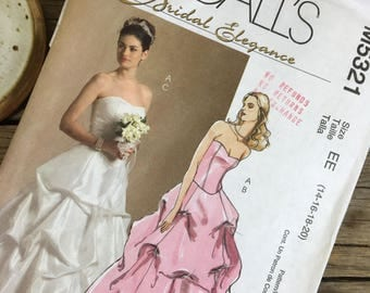 Wedding dress pattern, bunched style skirt, McCalls 5321, sizes 16, 18, 20, formal, prom, graduation