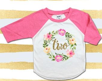 2nd Birthday Shirt Girl Glitter Gold Birthday Shirt Pink Raglan Birthday Shirt Second Birthday Shirt Floral Wreath Shirt Two Birthday