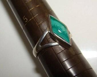 Ring Vintage Artisan Sterling Silver Healing Malachite