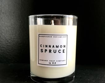 CINNAMON SPRUCE  >> handpoured soy candle/phthalate free/minnesotamade