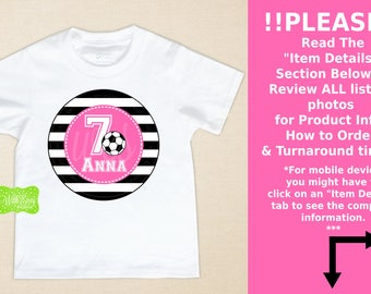 Personalized Soccer Birthday Iron On - Soccer Iron On - Soccer Transfer - Sports Iron On - Soccer Decal - EMAILED or SHIPPED
