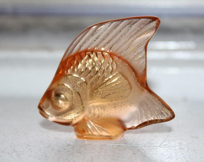Lalique Crystal Angel Fish Paperweight Champagne w/ Gold Highlights