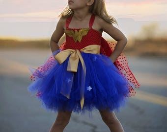Girls Super Hero Costume , Super Hero Tutu Dress, Halloween Costume, Super Hero crown, Super Hero Birthday Dress, Toddler Super Hero Dress