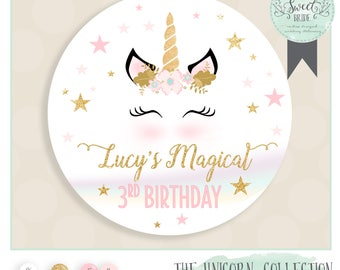unicorn favor tags unicorn birthday party. Printable PDF file. Multiple size Mint watercolor with glitter gold and accent color of choice