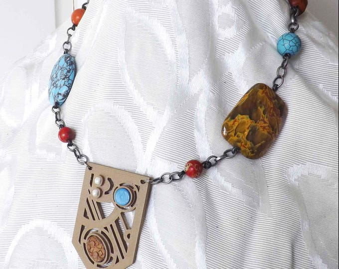 OOAK Semiprecious Stones, Silverplate Chain, Leather Cabachon, Silverplate Chain