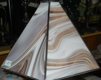 Beautiful Tan and White Streaky Stained Glass 15x10 Shade