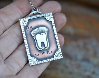 Loteria Card. Small La Muela necklace. Mexican Loteria. Molar Pendant. #64 Loteria. Mixed Metal. Mexican Bingo. Teeth. Tooth. Dentist
