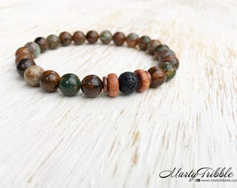 Mens Bracelet, Wood Green Opal Lava Stone Bracelet, Gemstone Bracelet, Earthy Jewelry, Boho Bracelet, Buddhist Jewelry, Healing Bracelet